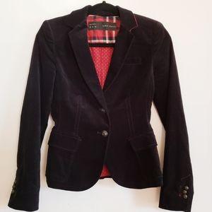 Zara Basic Black Velvet Blazer size XS